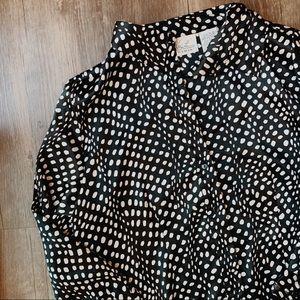 Vintage Silk Polka Dot Button Down Top Size M